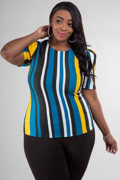 ROUND NECK PUFFED SHORT SLEEVE STRIPE TOP