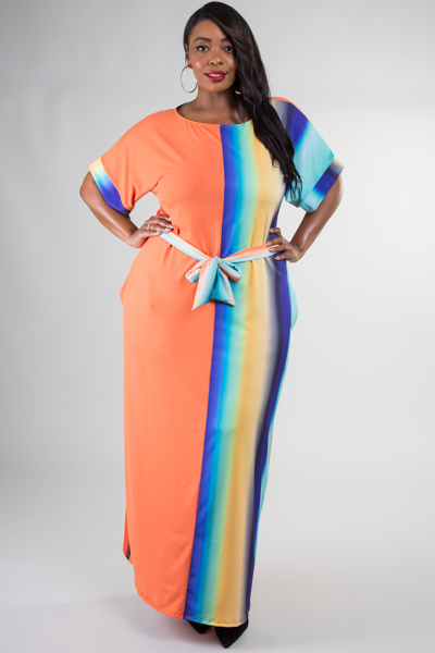 BOAT NECK HALF AND HALF COLOR BLOCK WITH POCKET DRESS