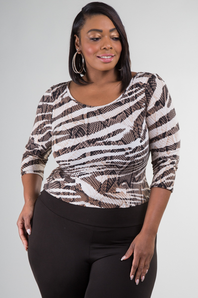 ROUND NECK 3/4 SLEEVE SNAKE PRINT FITTED TOP