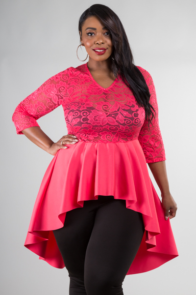 V-NECK 3/4 SLEEVE LACE COMBO HIGH LOW TOP