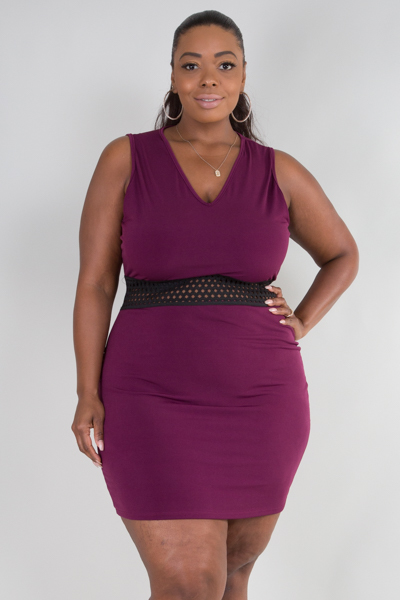 V-NECK SLEEVELESS WITH ELASTIC FITTED DRESS