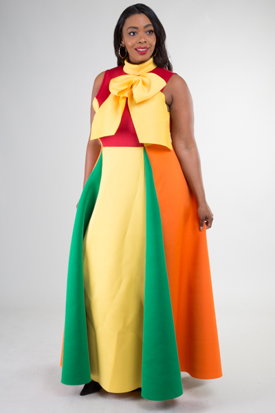 ELEGANT COLOR BLOCK MAXI DRESS WITH RIBBON POINT