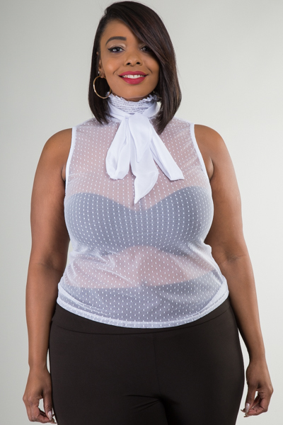 MOCK NECK WITH SMOCKING AND TIE SLEEVELESS DOT MESH TOP