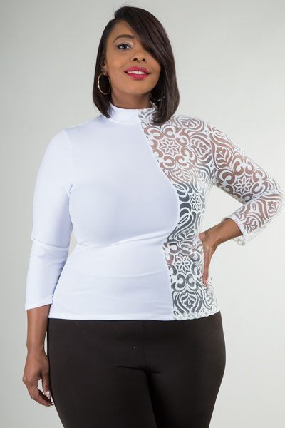 Mock neck 3/4 sleeves half and half top