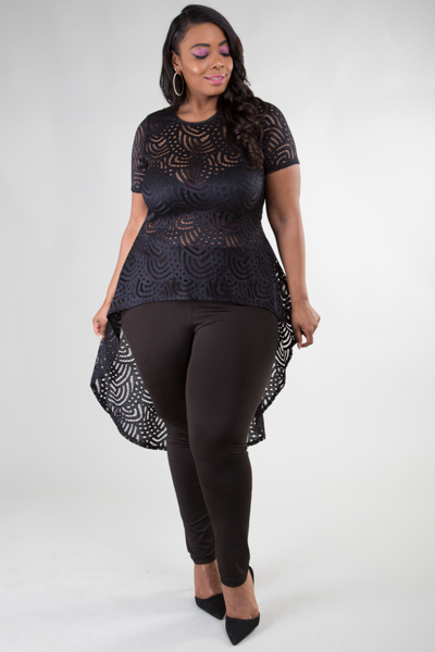 Round neck short sleeve high and low lace top