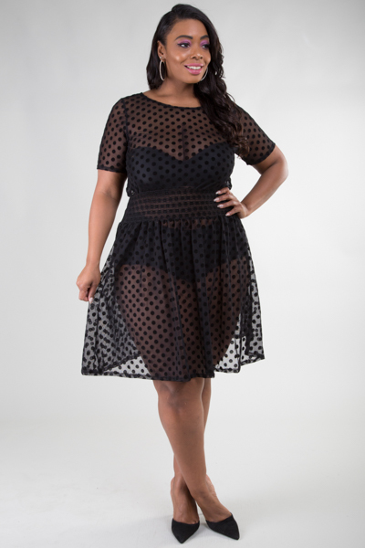 ROUND NECK POLKA DOTS SEE THROUGH MINI DRESS