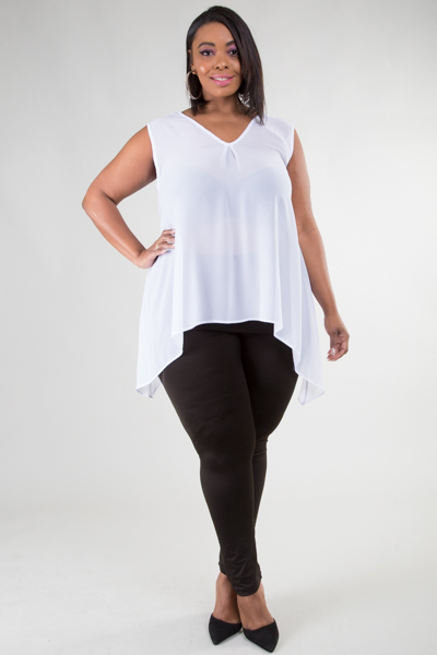 V-NECK SLEEVELESS SOLID TOP