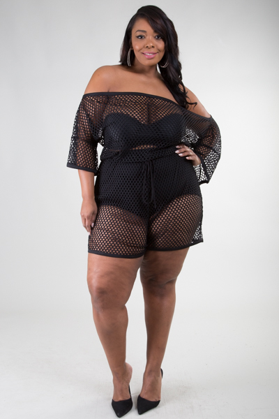 OFF SHOULDER 3/4 SLEEVE  TIE WAIST SEE THROUGH ROMPER