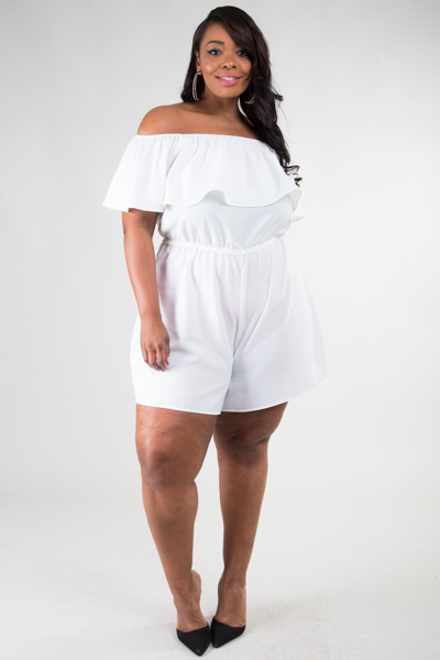 OFF SHOULDER FLOUNCE TOP ROMPER