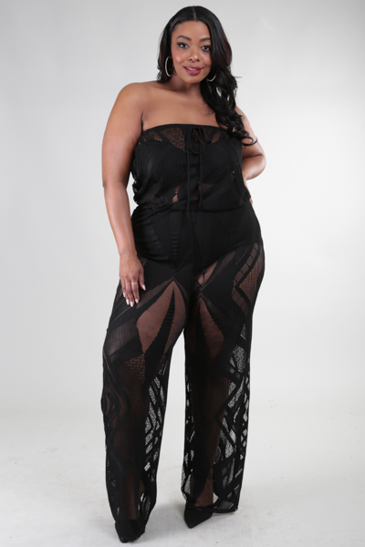 STRAPLESS SEE THROUGH JUMPSUIT
