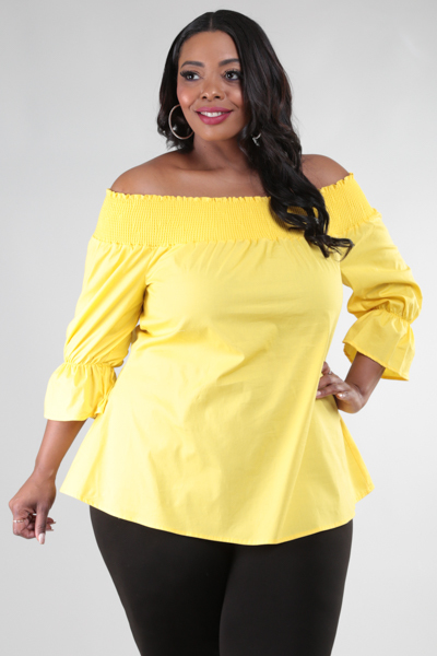 OFF SHOULDER 3/4 SLEEVE TOP WITH A BIG RIBBON DETAIL ON BACK