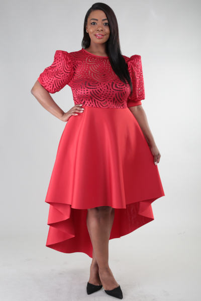 ROUND NECK LACE HIGH LOW DRESS