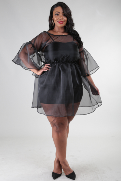 Boat neck 3/4 sleeve see-through fluffy out side dress with inside fitted dress.