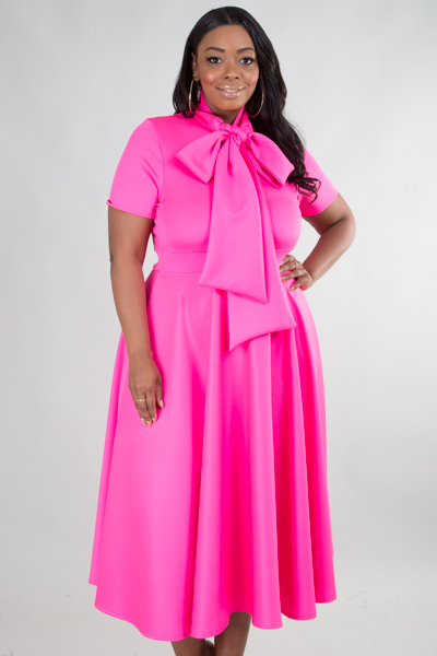 SHORT SLEEVE WITH BOW SOLID DRESS