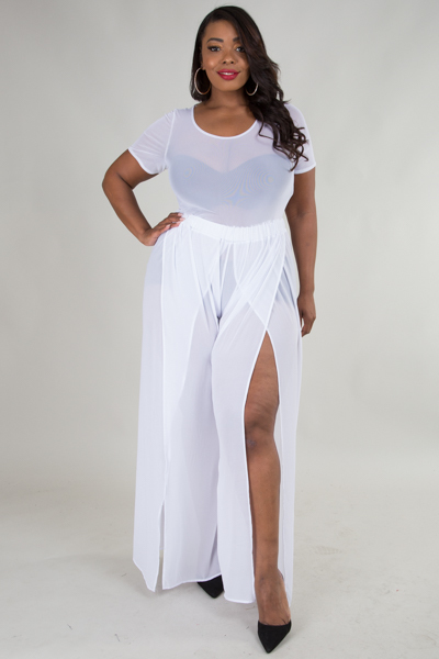 ROUND NECK SHORT SLEEVE SEE-THROUGH TOP AND SLIT PANTS  JUMPSUITS