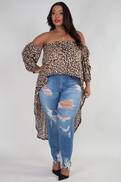 OFF SHOULDER LONG SLEEVE HIGH LOW ANIMAL PRINT TOP