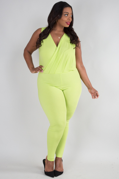 OVERLAP FRONT PLEAT SLEEVELESS SOLID JUMPSUIT