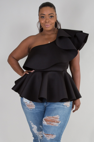 ONE SHOULDER RUFFLED LAYER WITH PEPLUM TOP