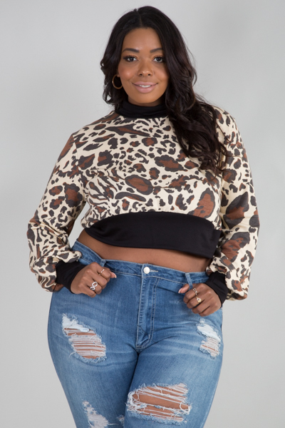 MOCK NECK LONG SLEEVE ANIMAL PRINTED CROP TOP