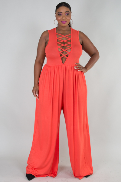 OPEN ARM DEEP V WITH CROSSED SPAGHETTI JUMPSUIT