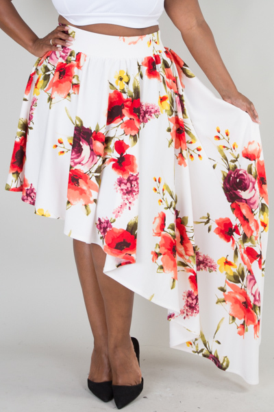 ASYMMETRICAL FLORAL PRINTED FLARED SKIRT