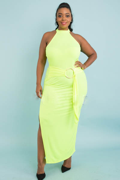 MOCK NECK SLEEVELESS BACK BUTTON WITH WAIST BIG BUCKLE SIDE SLIT FITTED LONG DRESS