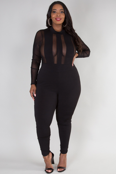 Mock neck long sleeve see through top sexy jumpsuit