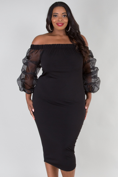 OFF SHOULDER SEE-THROUGH LONG SLEEVE FITTED MIDI DRESS