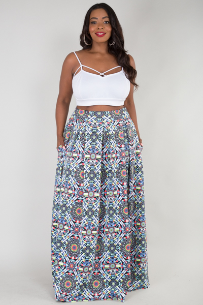 High waisted with pockets long maxi skirt