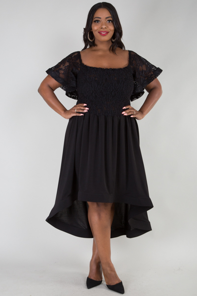 SQUARE NECK WIDE SHORT SLEEVE SMOCKING TOP HIGH LOW DRESS