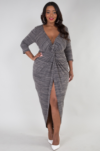 CROSS FRONT 3/4 SLEEVE FRONT SLIT DRESS