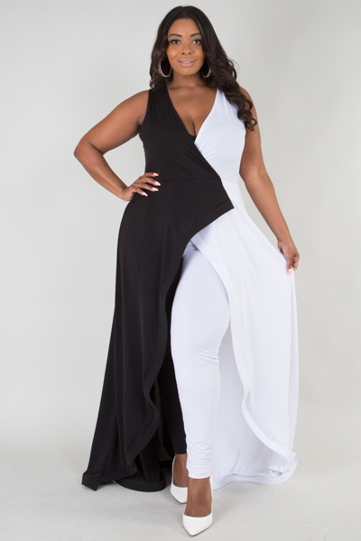 Deep v neck sleeveless ruffle long tail soild jumpsuits