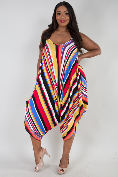Multi stripe sleeveless harem jumpsuit
