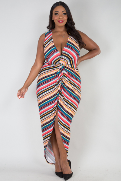 Sleeveless multi stripe high low dress