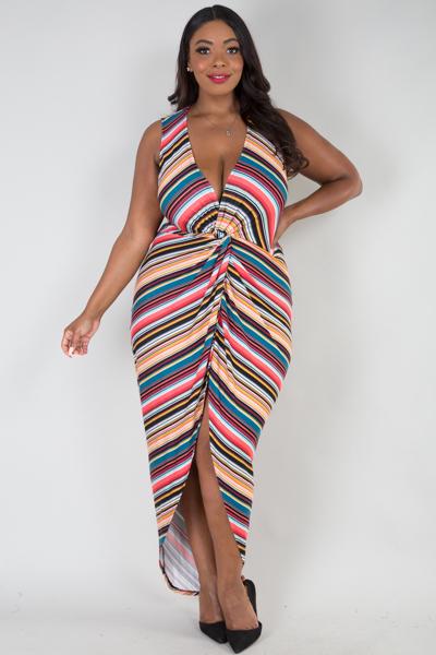 Sleeveless multi stripe high low dress