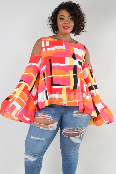 WOUND NECK COLD SHOULDER LONG SLEEVE PRINTED TOP