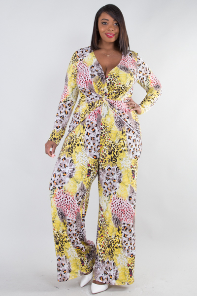 LONG SLEEVE TWIST FRONT ANIMAL PRINTED JUMPSUIT