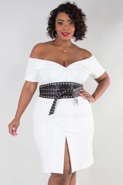 off shoulder jacket dress with belt