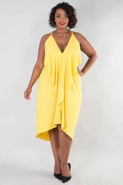 Sleeveless ruffled front solid mini dress