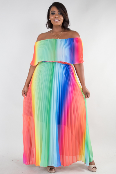 OFF SHOULDER RAINBOW MAXI DRESS