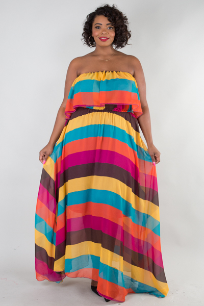 Off shoulder multi stripe maxi dress