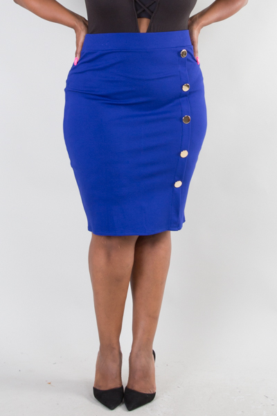 BUTTON POINT UNBALANCE PENCIL SKIRT