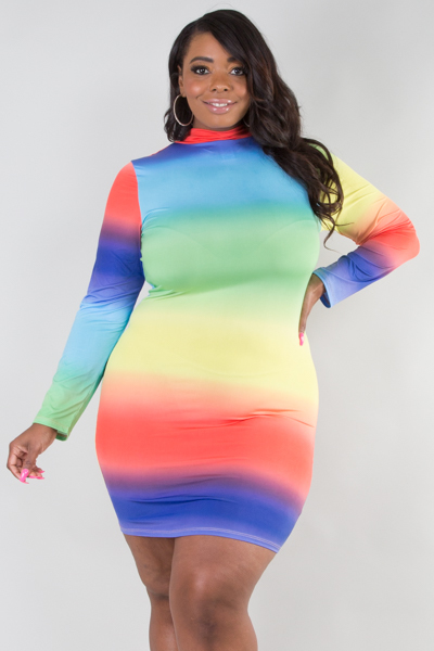Mock neck long sleeve rainbow fitted dress