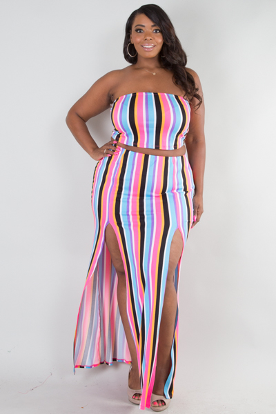 MULTI STRIPE PRINTED TUBE TOP AND FRONT SLIT SKIRT SET