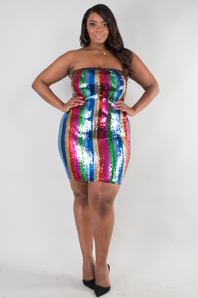 COLORFUL SEQUINS FITTED TUBE DRESS