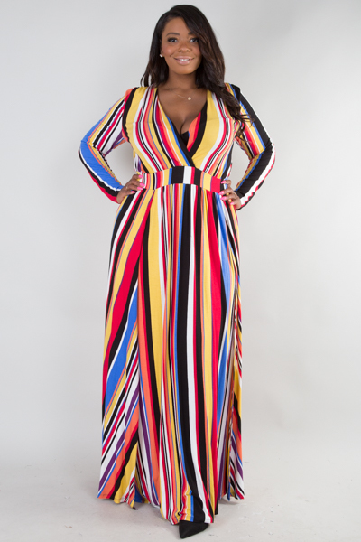 Deep v neck long sleeve with 2 slits on front printed dress