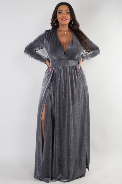 Deep v neck long sleeve with 2 slits on front lurex dress