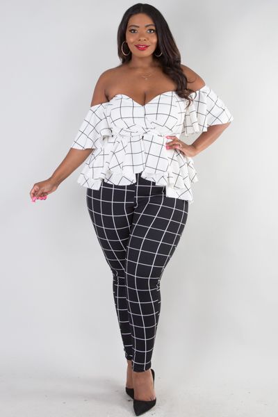 Off shoulder sweetheart ruffle peplum top and pants set