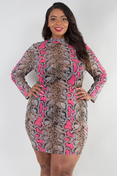 Mock neck long sleeve snake fitted dress