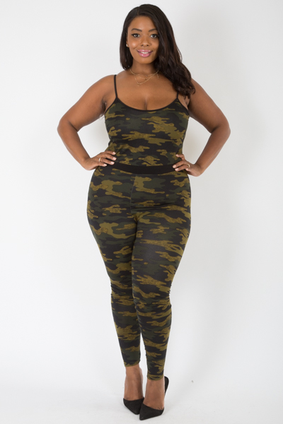 SLEEVELESS MILITARY PRINTED JUMPSUIT